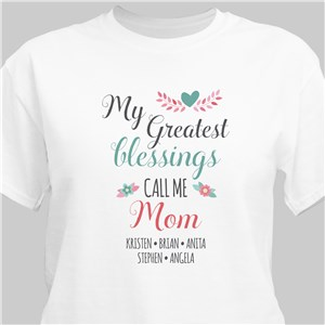 Personalized My Greatest Blessings Call Me White T-Shirt