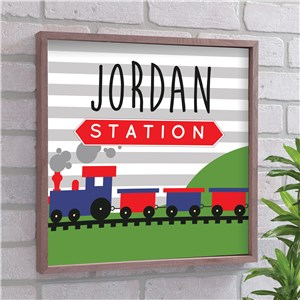 Personalized Train Framed Wall Sign