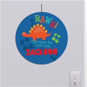 Personalized Rawr Dinosaur Round Sign