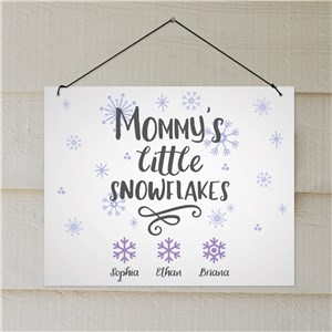 Personalized Mommy's Little Snowflakes Wall Hanging