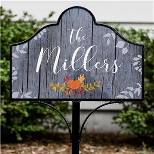 Personalized Fall Floral Magnetic Yard Sign