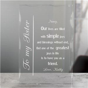 To My Sister Engraved Keepsake Block