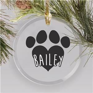 Personalized Pet Round Glass Ornament