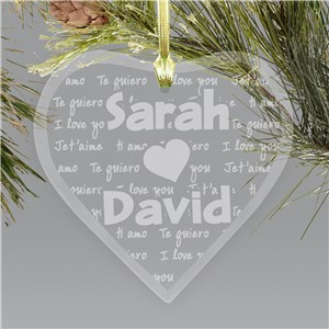 Engraved I Love You Glass Heart Christmas Ornament