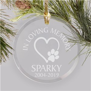 Personalized Heart And Paw Memorial Glass Ornament