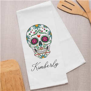 Personalized Sugar Skull Tea Towel