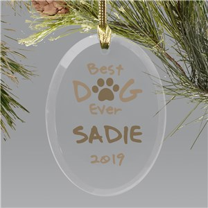 Personalized Best Dog Ever Glass Ornament