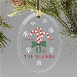 Personalized Welcome Candy Canes Oval Glass Ornament