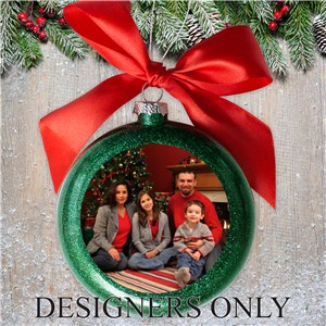 Personalized Green Photo Glass Ornament DESIGNERS ONLY