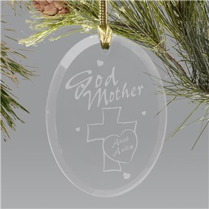 Personalized Godmother Glass Christmas Ornament