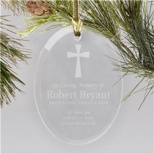 Engraved In Loving Memory Glass Ornament