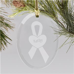 Breast Cancer Awareness Glass Christmas Ornament