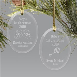 Baby's First Christmas Ornament | Glass Oval Ornament