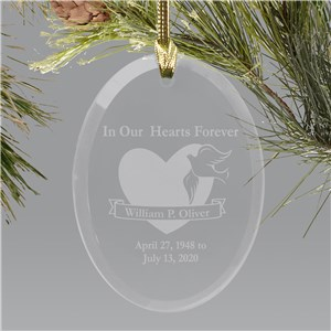 Forever in our hearts Oval Glass Ornament
