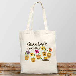 Personalized Grandma's Garden Tote Bag