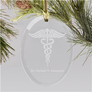 Medical Engraved Oval Glass Christmas Ornament