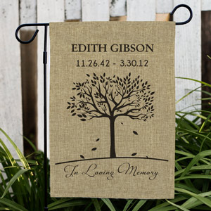In Loving Memory Personalized Burlap Flag