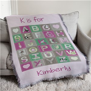 Personalized Baby Girl Alphabet Afghan Throw