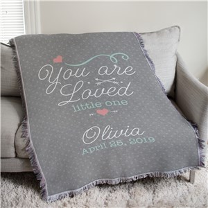 Personalized You Are Loved Little One Girl Afghan Throw