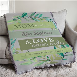 Mom is Where Life Begins Colorful Floral Personalized Afghan Throw