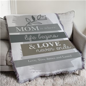 Mom is Where Life Begins Muted Floral Personalized Afghan Throw