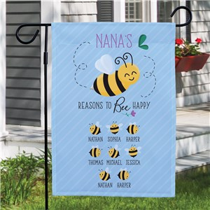 Personalized Reasons To Bee Happy Garden Flag
