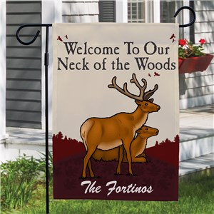 Neck of the Woods Personalized Garden Flag