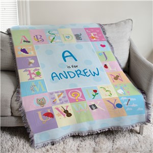 Personalized Blue Alphabet Baby Tapestry Throw