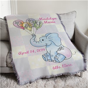 Personalized Baby Girl Elephant Tapestry Throw