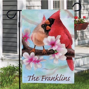 Personalized Spring Cardinals Garden Flag