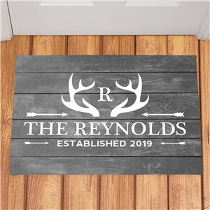 Personalized Deer Antlers Doormat