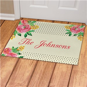 Personalized Watercolor Floral Background Doormat