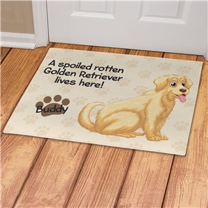 Personalized Spoiled Here Golden Retriever Doormat