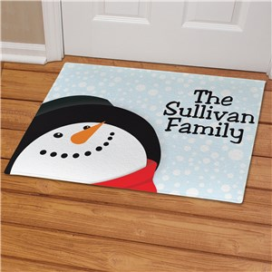Custom Snowman Doormat with Family Name
