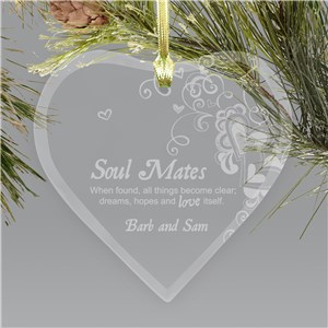 Engraved Soul Mates Glass Heart Christmas Ornament