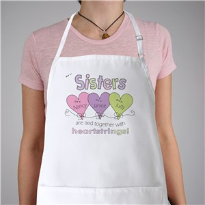 Hearts Strings Personalized Sisters Apron