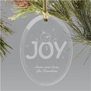 Engraved Christmas Joy Oval Glass Holiday Ornament