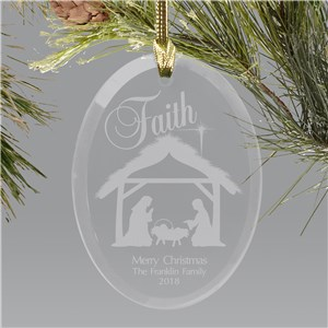 Engraved Nativity Oval Glass Christmas Ornament