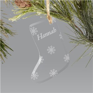 Engraved Snowflake Glass Stocking Holiday Ornament