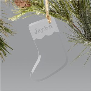Engraved Glass Stocking Holiday Ornament
