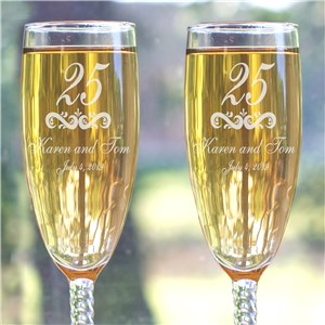 Our Anniversary Personalized Toasting Flutes