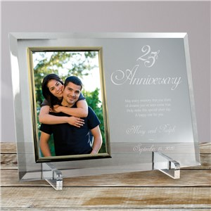 25th Anniversary Beveled Personalized Glass Picture Frame