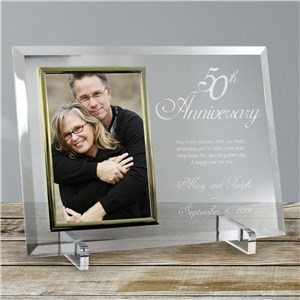 Personalized Beveled Glass 50th Anniversary Picture Frame