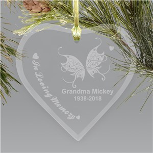Engraved Heart Memorial Chritstmas Ornament
