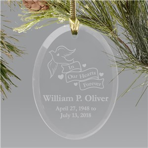 Engraved In Our Hearts Forever Memorial Christmas Ornament