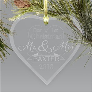 Engraved First Christmas Mr. and Mrs. Holiday Ornament | Glass Heart