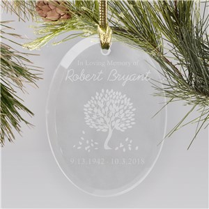 Personalized In Loving Memory Glass Ornament
