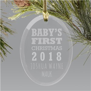 Engraved Glass Baby's First Christmas Ornament