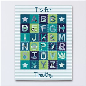 Personalized Alphabet Baby Boy Canvas