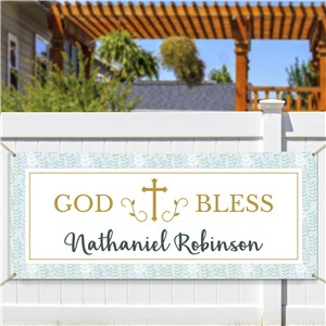 Personalized God Bless Leaves Banner